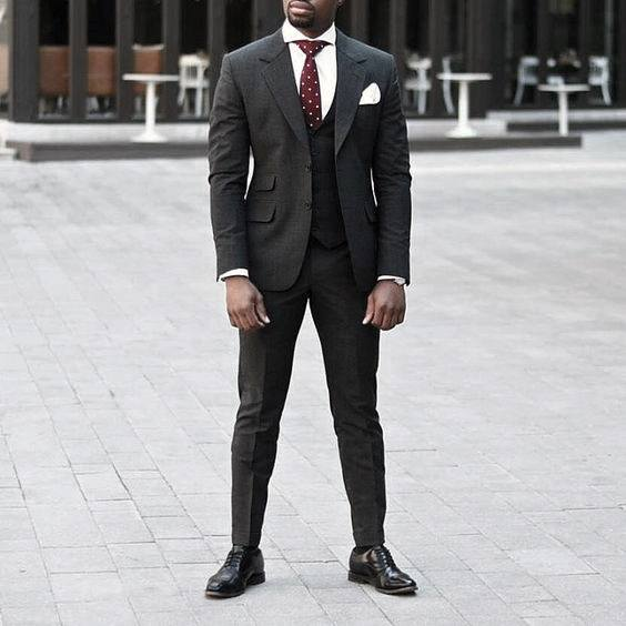 Charcoal Grey Suit Black Shoes Mens Style Ideas With Red Dot Tie