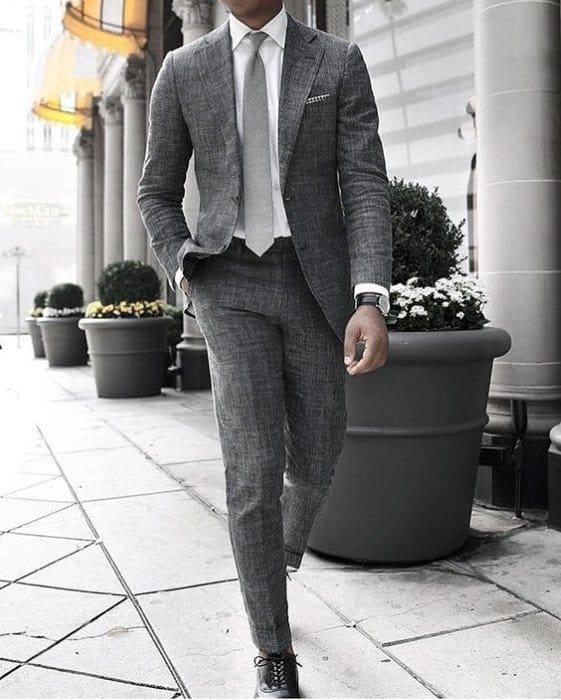Charcoal Grey Suit Black Shoes Styles For Gentlemen