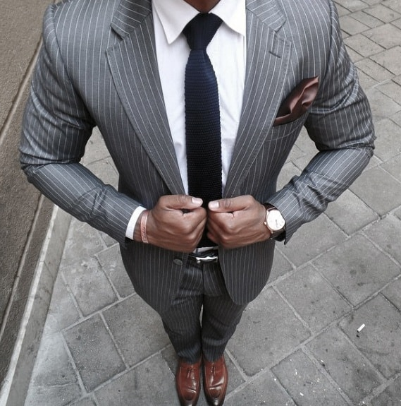 Charcoal Grey Suit Brown Shoes Blue Knit Tie Style Ideas For Guys