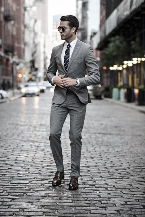 Charcoal Grey Suit Brown Shoes Business Professional Looks For Men
