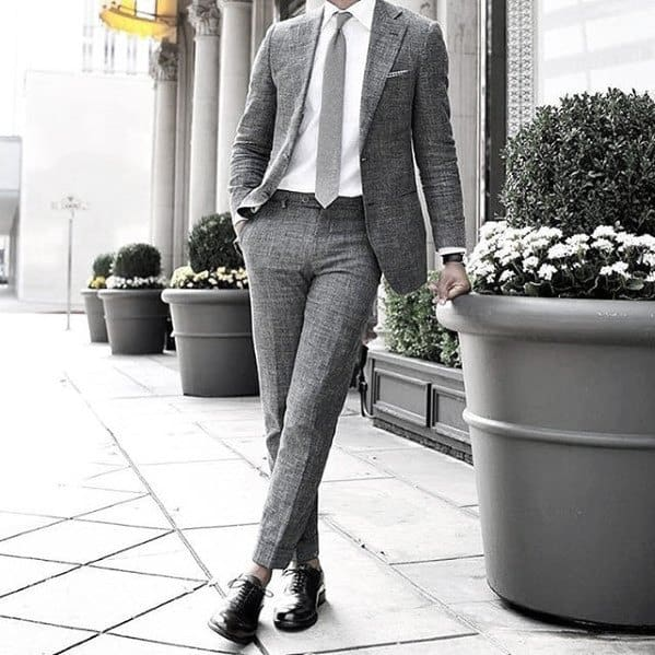 Charcoal Grey Suit Tie And Black Shoes Fashion Ideas For Men