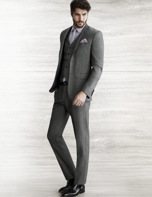 Charcoal Grey Three Piece Suit Black Shoes Outfits For Men
