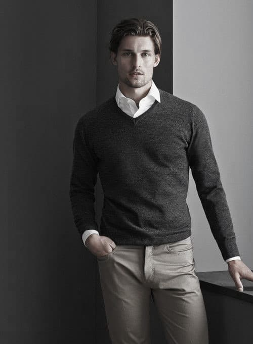 Charcoal Sweater With White Dress Shirt What To Wear With Mens Style Khaki Pants