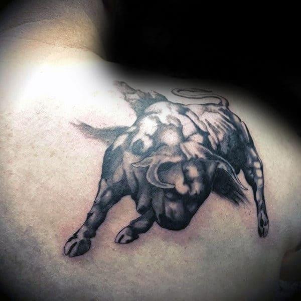 Charging Bull Brush Stroke Upper Shoulder Tattoo For Gentlemen