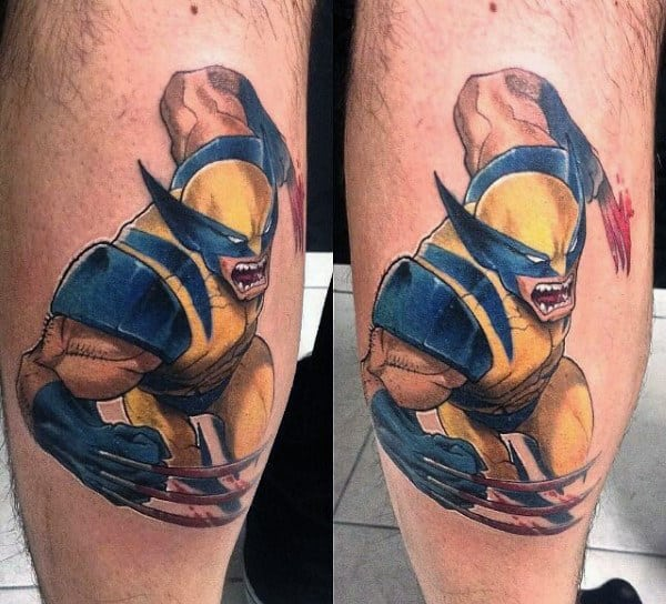 Charging Wolverine Guys Leg Calf Tattoos