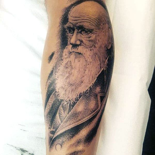 Charles Darwin Science Tattoo For Guys On Forearm