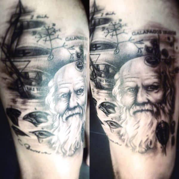 Charles Darwin Science Tattoo For Men On Leg
