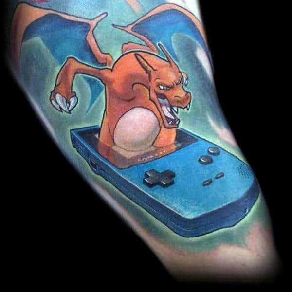 Charzard Mens Video Game Pokemon Gameboy Tattoos On Arm