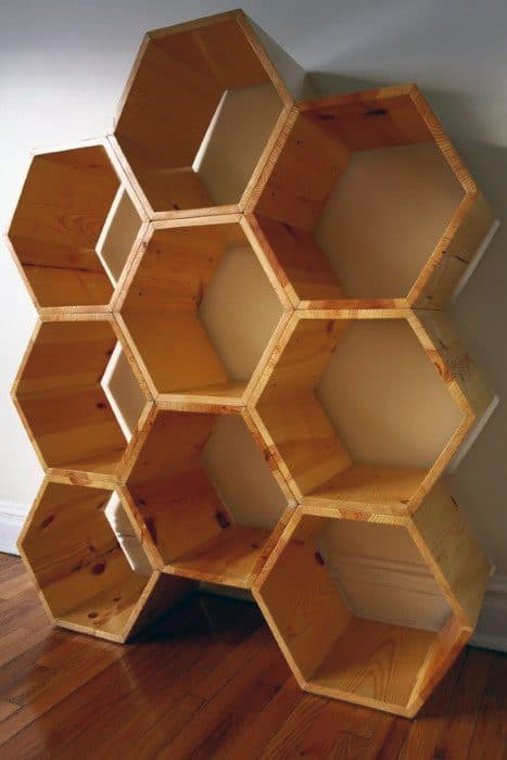Cheap Man Cave Honeycomb Wall Storage Bookcase Ideas