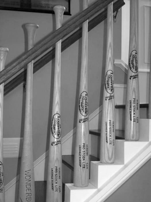 Cheap Man Cave Ideas Baseball Staircase Railing