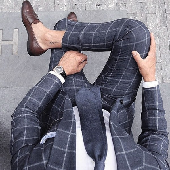 Checkered Box Navy Blue Suit Brown Shoes Mens Style Ideas