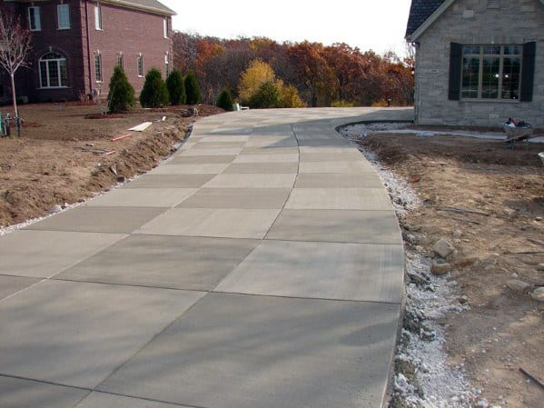 Checkered Brushed Awesome Concrete Driveway Ideas