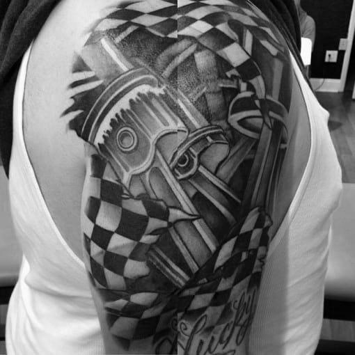 Checkered Flag Tattoo Designs For Men