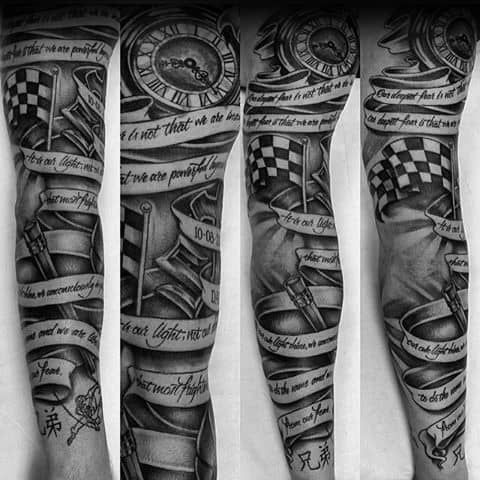 Checkered Flag Themed Tattoo Ideas For Men