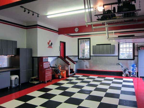 Checkered Garage Flooring With Red Border