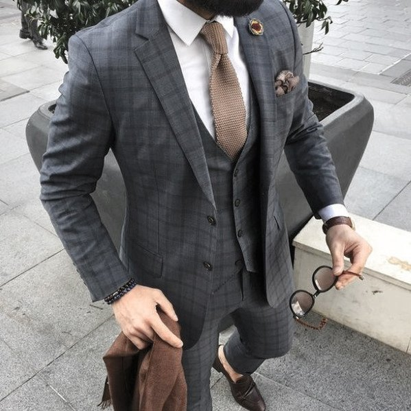 Checkered Grey Suit Brown Shoes And Tie Fashion Ideas For Men