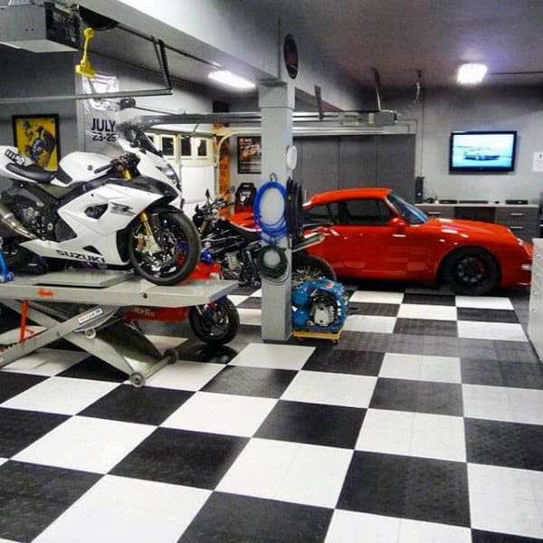 Checkered Race Flag Black And White Garage Flooring Ideas