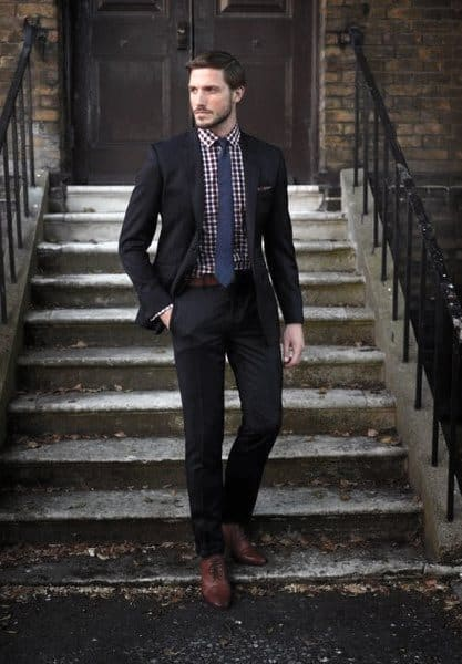 Checkered Shirt Male Fashion Navy Blue Suit Style Ideas