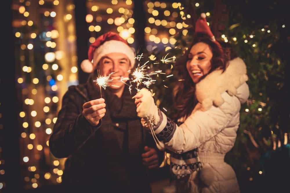 cheerful couple enjoying christmas