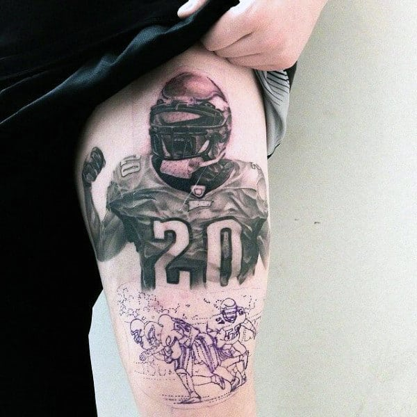 Cheering Football Player Mens Thigh Tattoo Design Ideas