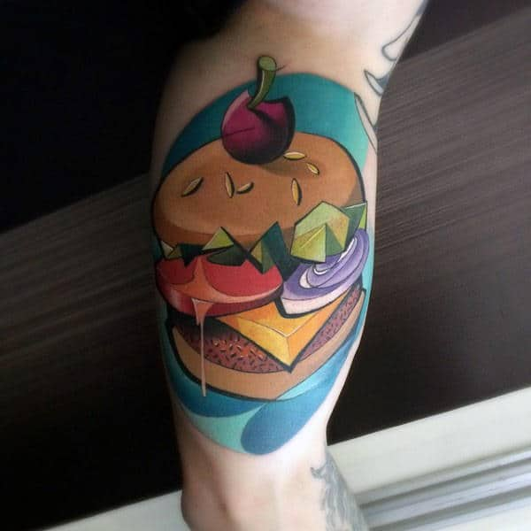 Cheeseburger Graffiti Bicep Tattoo With Creative Design