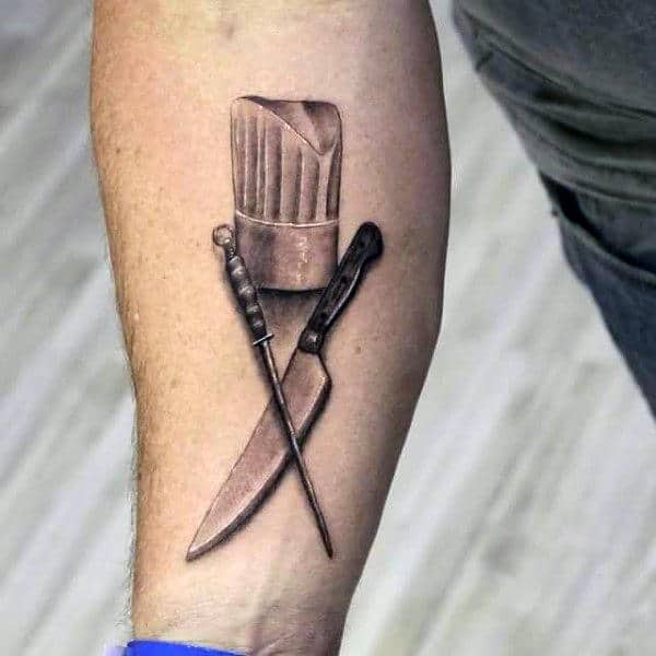 Chef Hat With Knife Mens Inner Forearm Tattoos