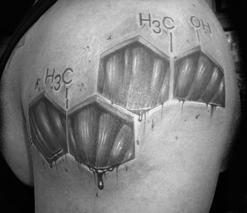 Chemical Formula Mens Chemistry Uper Arm Muscle Tattoos