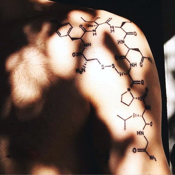 Chemical Science Tattoo Structure For Men On Upper Arm