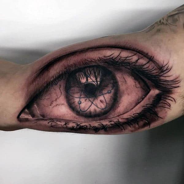 Chemistry Eye Crazy Male Bicep Tattoos