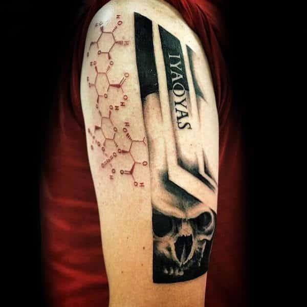 Chemistry Trash Polka Mens Arm Tattoos