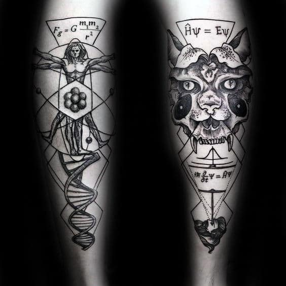 Chemistry With Dna Strand Vitruvian Man Mens Back Of Legs Tattoo