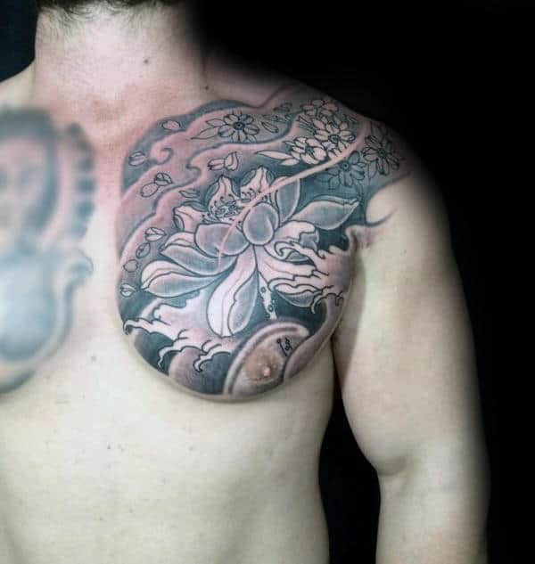 Cherry Blossom Mens Shaded Upper Chest Tattoo Ideas