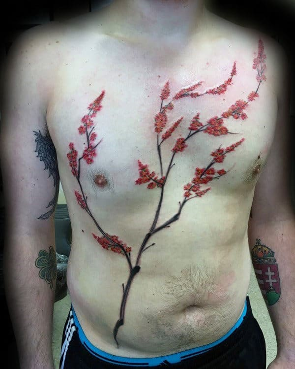 Cherry Blossom Tree Mens Chest Tattoo