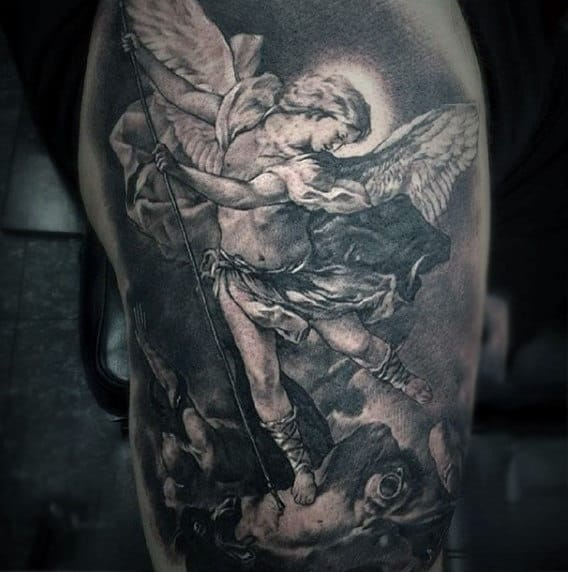 Cherubic Winged Angel Killing Bad Tattoo Male Torso