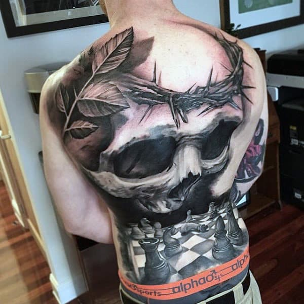 Chess Board And Big Skull Manly Tattoo Male Full Back