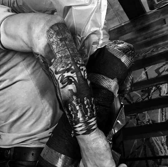 Chess Gate Forearm Sleeve Guys Tattoo