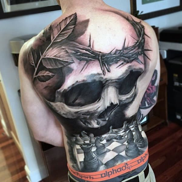 Chess Pieces And Skull Tattoo Mens Full Back