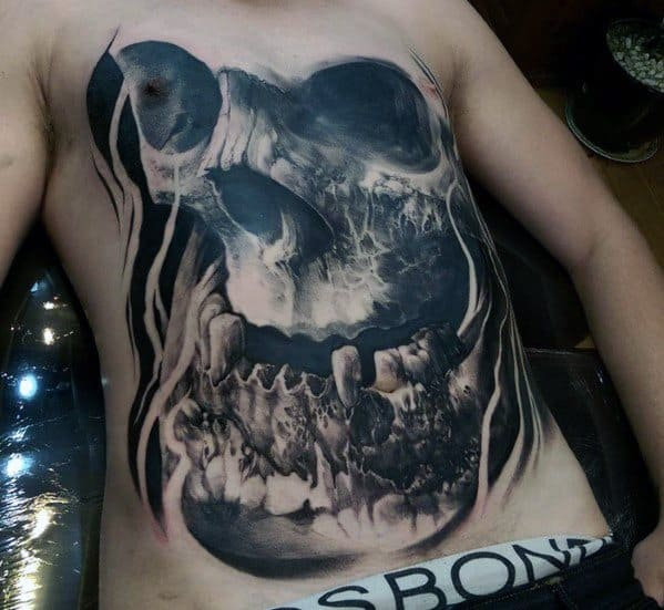Chest 3d Badass Skull Tattoos Men