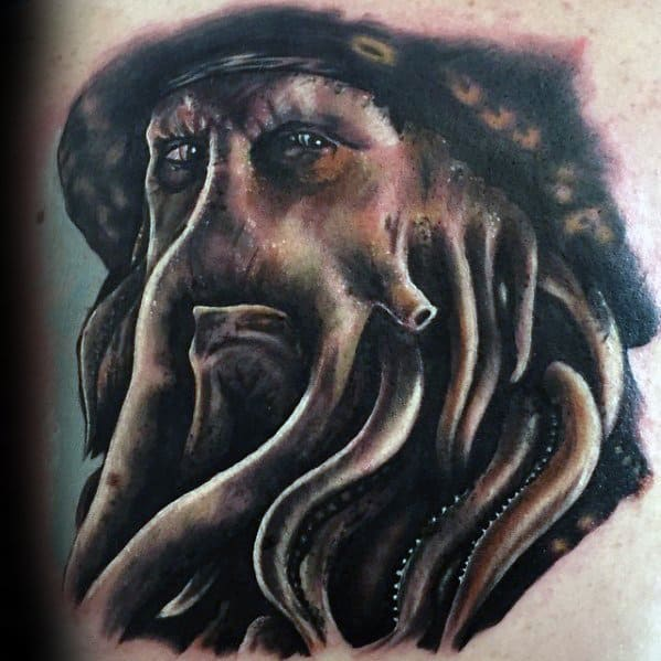 Chest 3d Davy Jones Tattoos Male