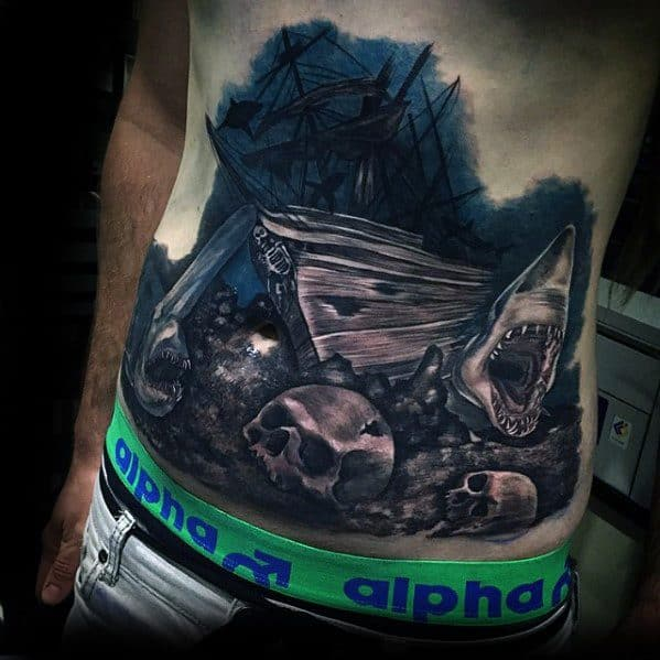 Chest 3d Male Cool Shipwreck Tattoo Ideas