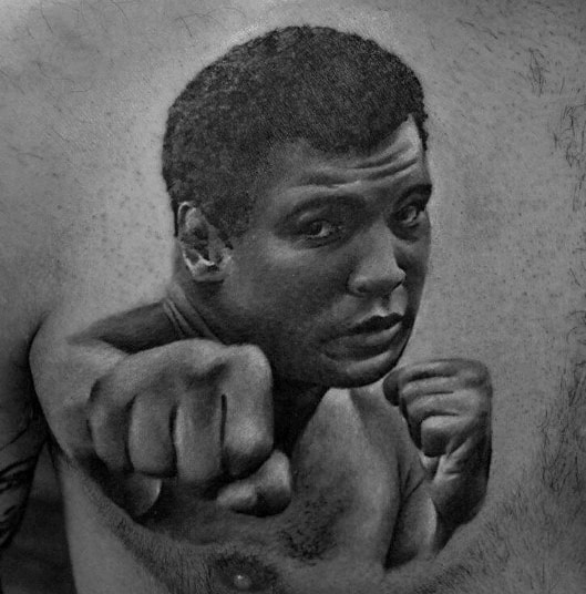 Chest 3d Muhammad Ali Mens Tattoo Designs