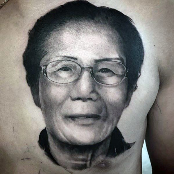 Chest 3d Realistic Male Cool Portrait Tattoo Ideas