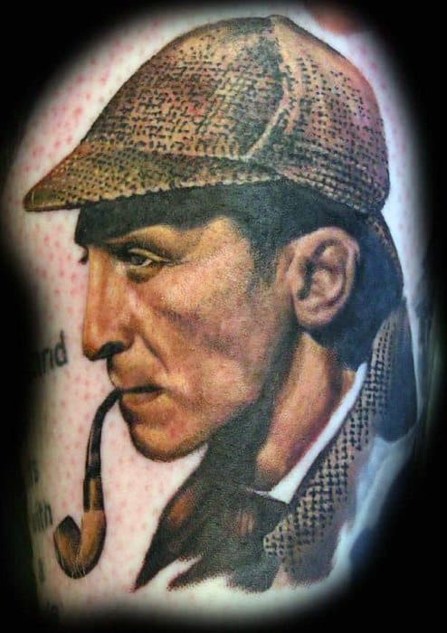 Chest 3d Sherlock Holmes Male Tattoo Ideas