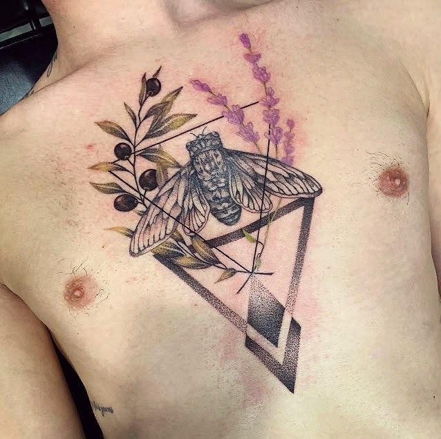 chest Cicada Tattoos ana.lamaaa