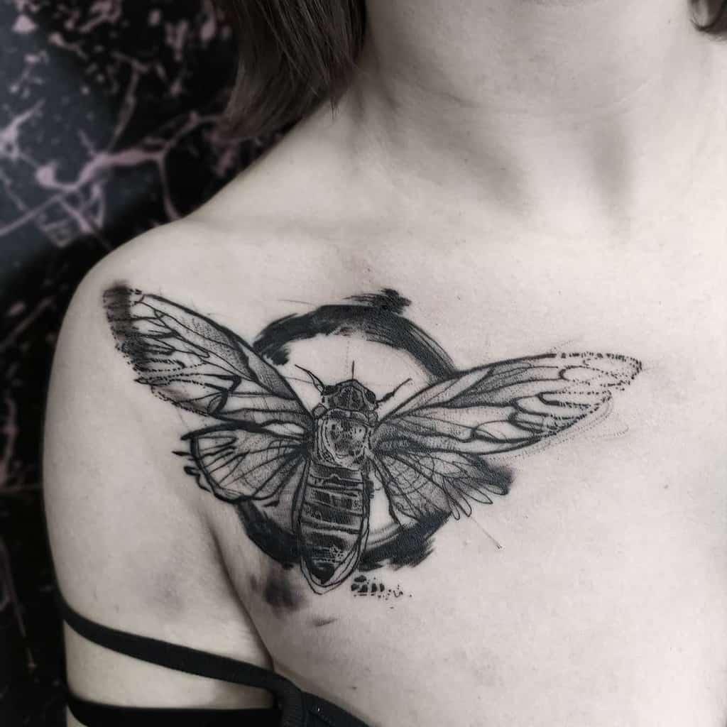 chest Cicada Tattoos bima_tattoo
