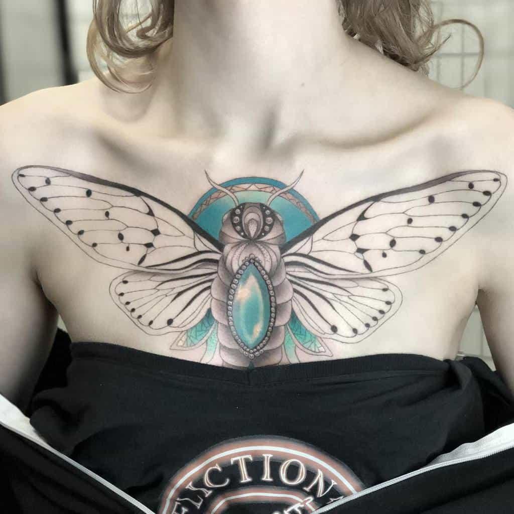 chest Cicada Tattoos breckmarquette