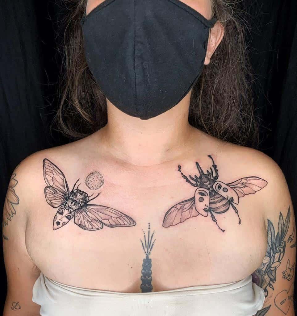 chest Cicada Tattoos mollyemrick