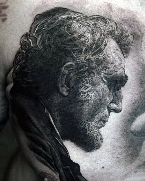Chest Abraham Lincoln Guys Tattoo Ideas