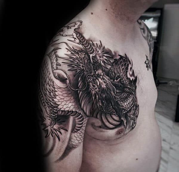 Chest And Arm Chinese Dragon Male Tattoos