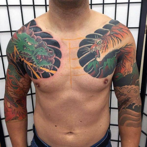 chest-and-arms-mens-tiger-dragon-tattoo-ideas